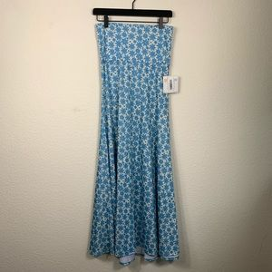 LuLaRoe XS Maxi Skirt Blue & White Daisies Skirt